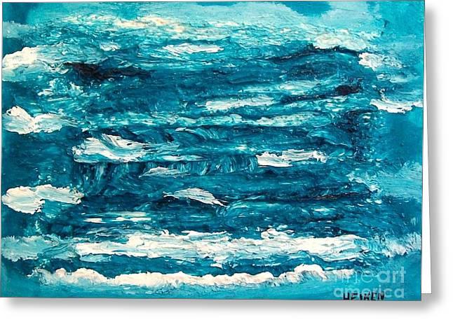 Mediterranean Blue Green Greeting Card by Marsha Heiken