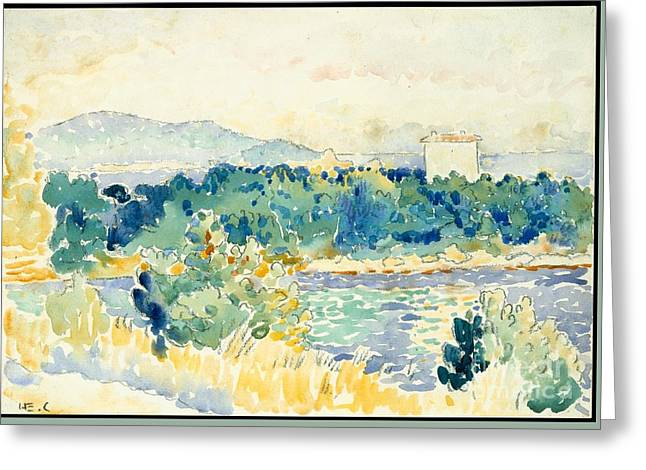 Mediterranean Landscape With A White House Greeting Card by Celestial Images