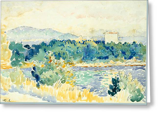Mediterranean Landscape With A White House Greeting Card