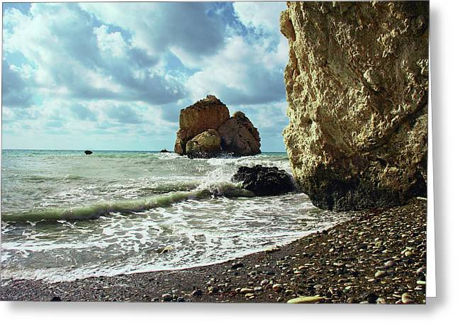 Mediterranean Sea, Pebbles, Large Stones, Sea Foam - The Legendary Birthplace Of Aphrodite Greeting Card