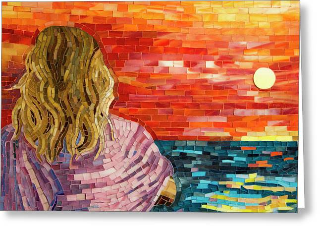 Mediterranean Sunset Detail Greeting Card by Adriana Zoon