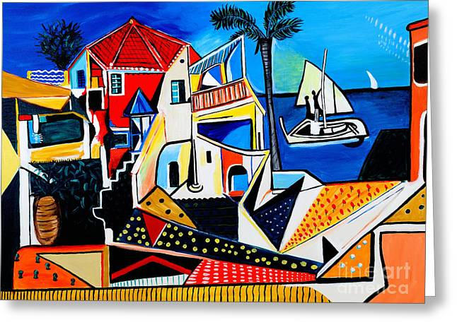 Mediterranean- Tribute To Picasso Greeting Card by Art by Danielle