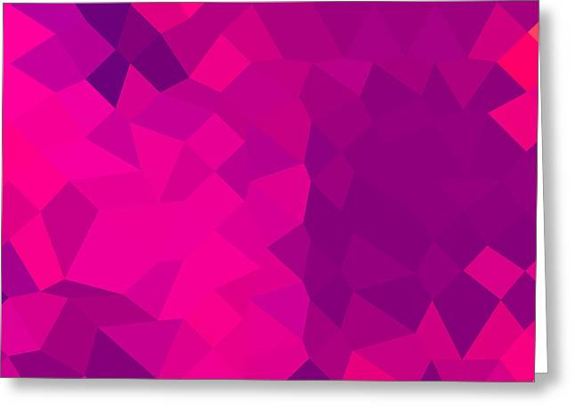 Medium Violet Red Abstract Low Polygon Background Greeting Card by Aloysius Patrimonio