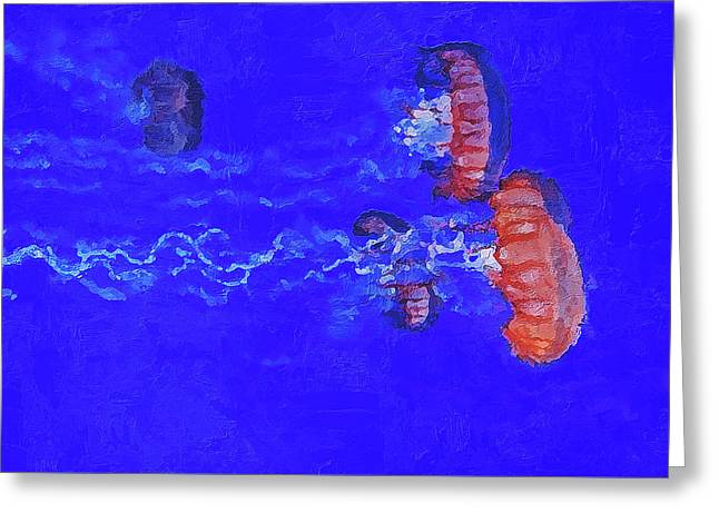 Greeting Card featuring the digital art Medusas Jellyfishes by PixBreak Art