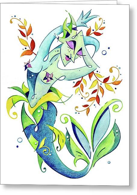 Meerjungfrau Art Design - Fantasy Illustration Greeting Card