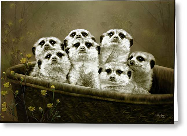 Greeting Card featuring the digital art Meerkats by Thanh Thuy Nguyen