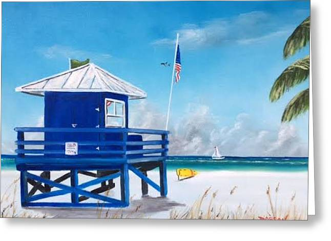 Meet At Blue Lifeguard Greeting Card
