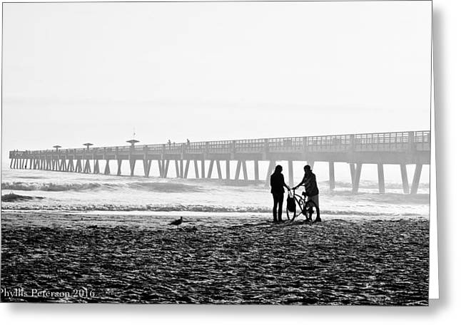 Greeting Card featuring the photograph Meet At The Pier by Phyllis Peterson