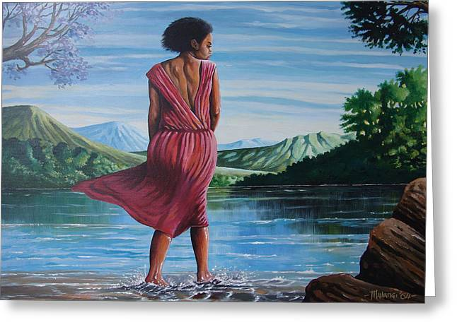 Greeting Card featuring the painting Meet Me At The River by Anthony Mwangi