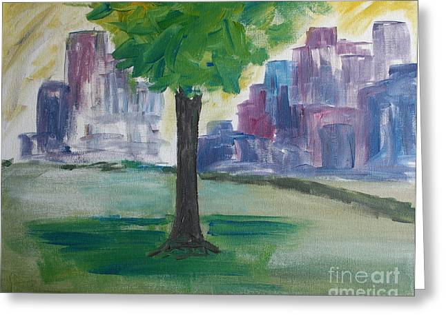Meet Me By Our Tree In Central Park Greeting Card by Julie Lueders