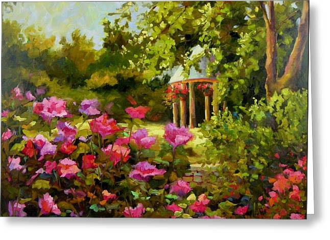 Greeting Card featuring the painting Meet Me In The Garden by Chris Brandley