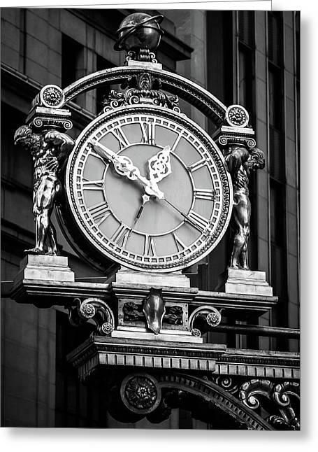 Meet Me Under The Clock Bw Greeting Card by John Duffy
