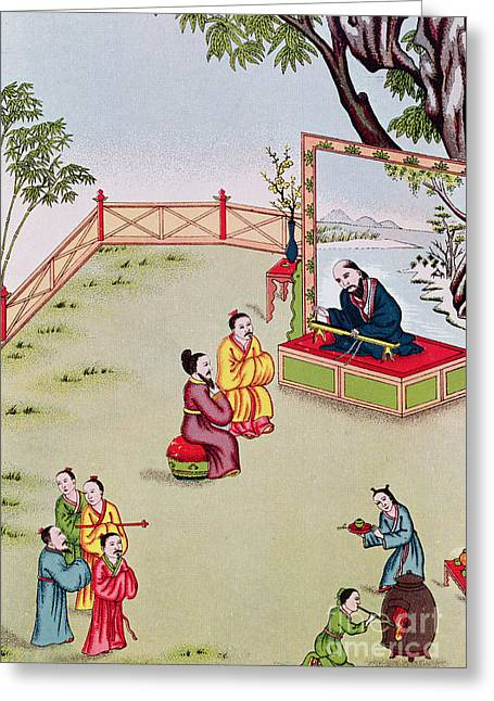 Meeting Between Confucius And Lao Tzu Greeting Card by Chinese School