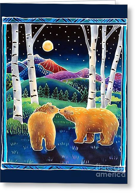 Bear Cub Greeting Cards - Meeting in the Moonlight Greeting Card by Harriet Peck Taylor