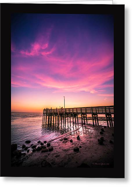 Meeting On The Pier Greeting Card by Marvin Spates
