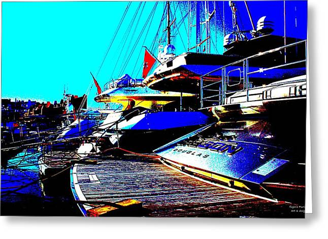 Greeting Card featuring the photograph Mega Yachts by Rogerio Mariani
