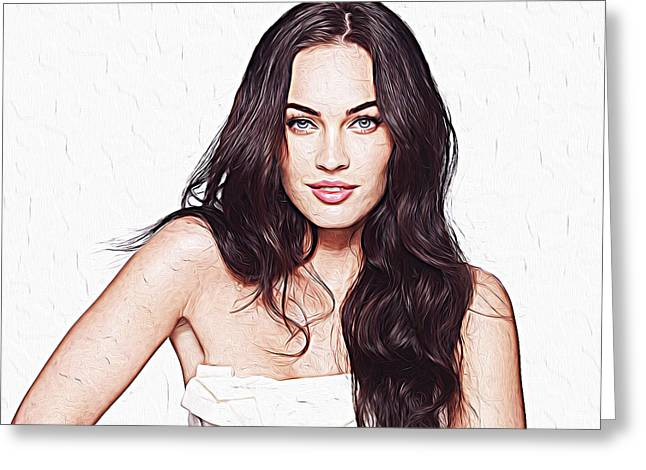 Megan Fox Greeting Card by Iguanna Espinosa