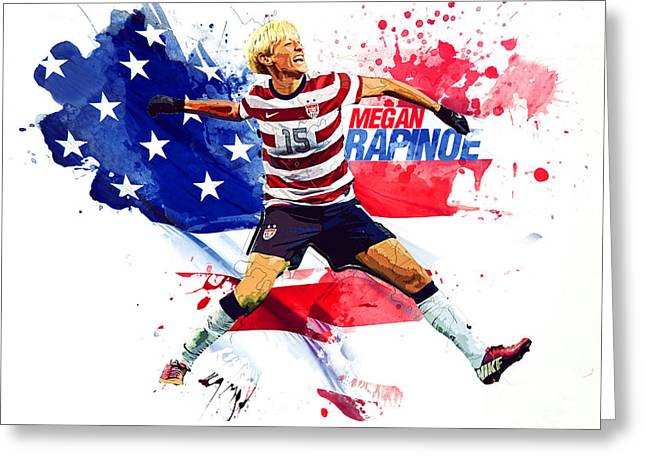 Megan Rapinoe Greeting Card by Semih Yurdabak