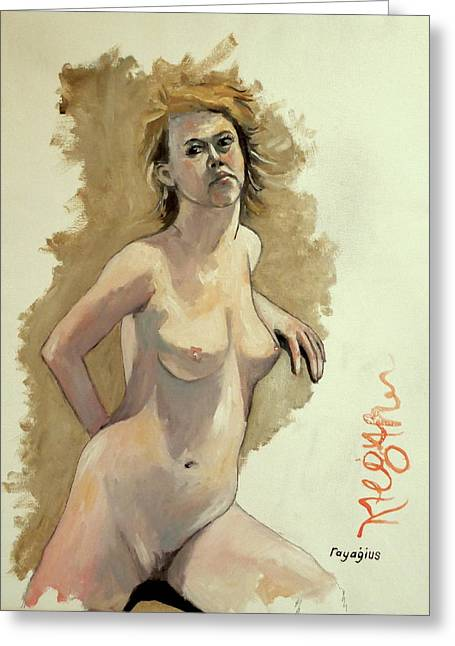 Greeting Card featuring the painting Megan by Ray Agius