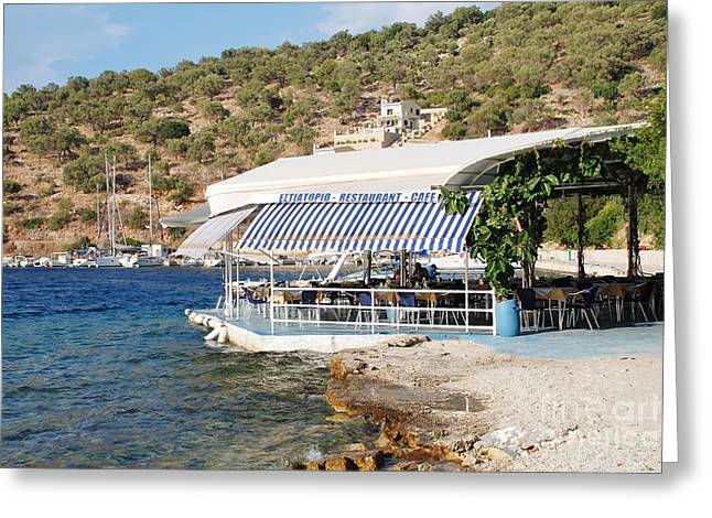 Meganissi Beach Taverna Greeting Card