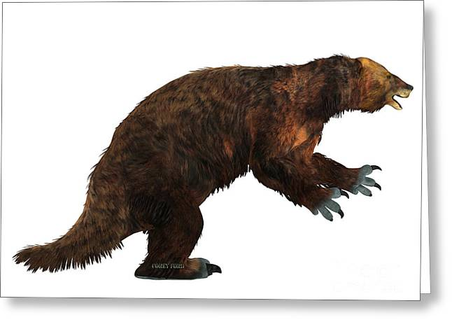 Megatherium Sloth Side Profile Greeting Card by Corey Ford
