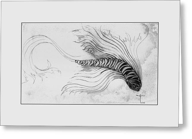 Greeting Card featuring the drawing Megic Fish 3 by James Lanigan Thompson MFA