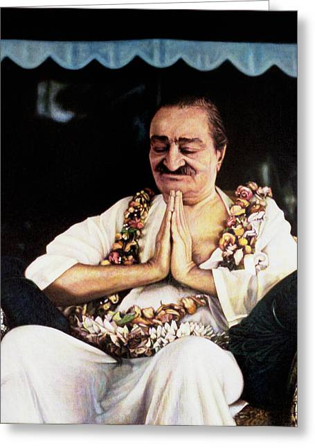 Baba Paintings Greeting Cards - Meher Baba 2 Greeting Card by Nad Wolinska