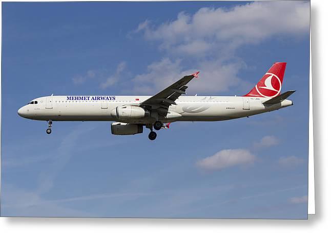 Mehmet Airways Airbus A321 Greeting Card by David Pyatt
