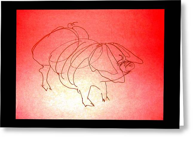 Greeting Card featuring the drawing Meishan Sow 3 by Larry Campbell