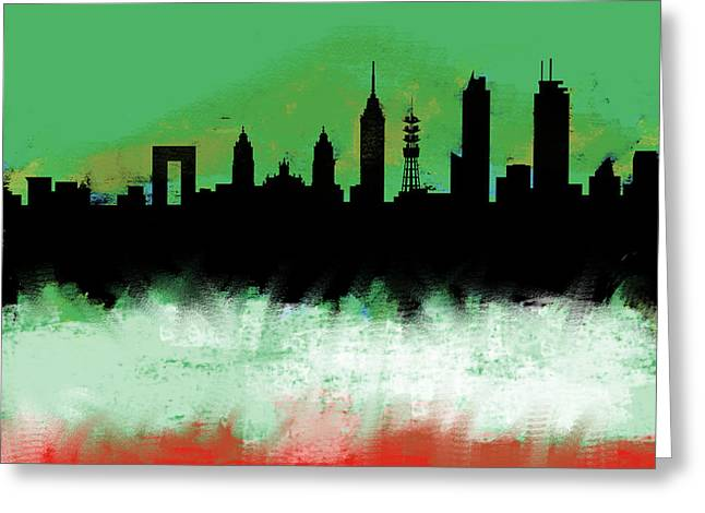 Mexico City Df Skyline Green White Red  Greeting Card