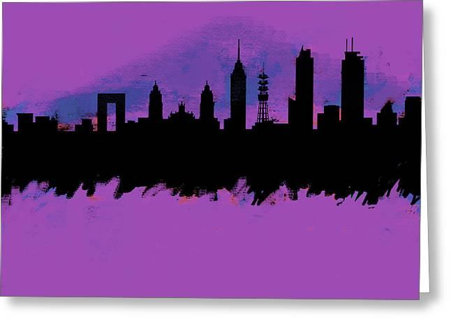 Meixco City Df Skyline Purple  Greeting Card