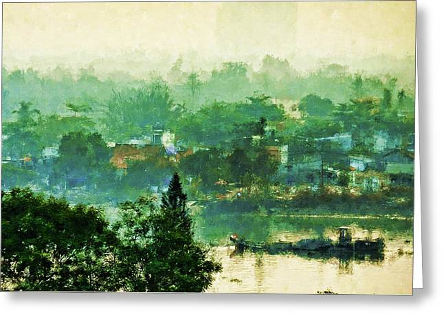 Mekong Morning Greeting Card by Cameron Wood