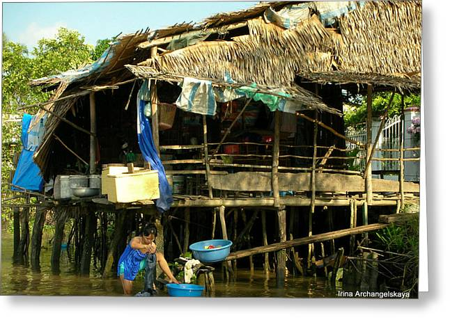Mekong River Chores Greeting Card