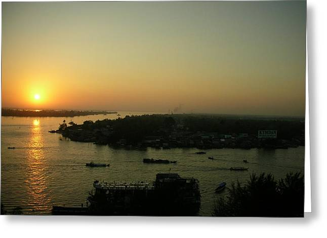 Mekong River Morning Sanrise Traffic Greeting Card