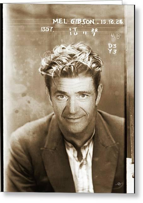 Mel Gibson Mug Shot Vertical Sepia Greeting Card by Tony Rubino