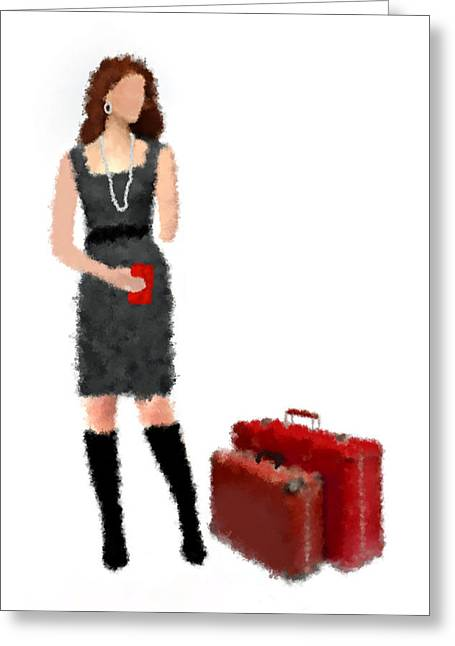 Greeting Card featuring the digital art Melanie by Nancy Levan