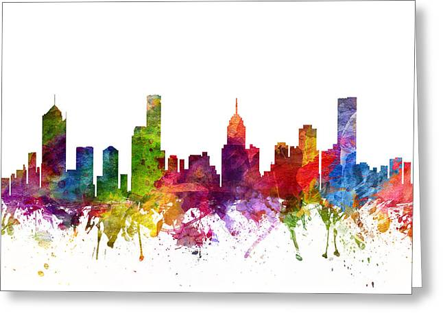 Melbourne Australia Cityscape 06 Greeting Card by Aged Pixel