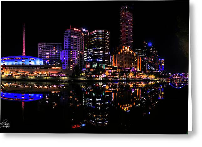 Melbourne By Night Greeting Card