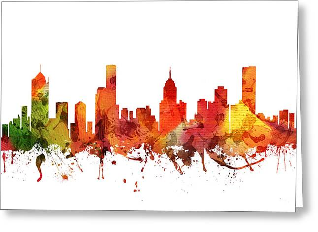 Melbourne Cityscape 04 Greeting Card by Aged Pixel