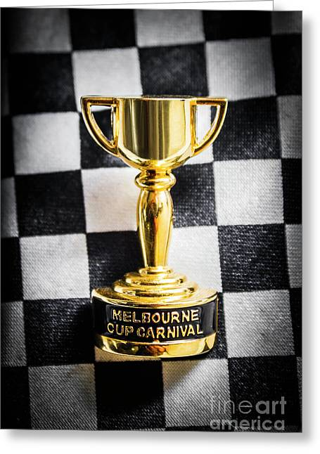 Melbourne Cup Pin On Mens Chequered Fashion Tie Greeting Card