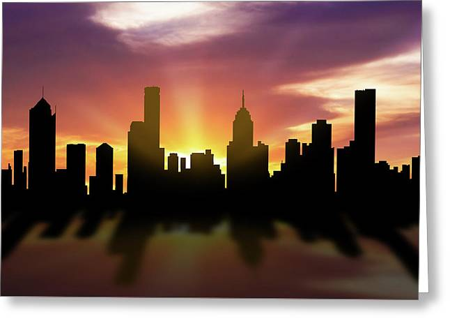 Melbourne Skyline Sunset Aume22 Greeting Card by Aged Pixel