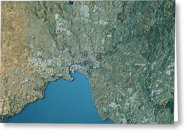 Melbourne Topographic Map Natural Color Top View Greeting Card by Frank Ramspott