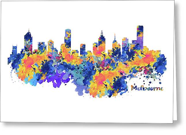 Melbourne Watercolor Skyline Greeting Card
