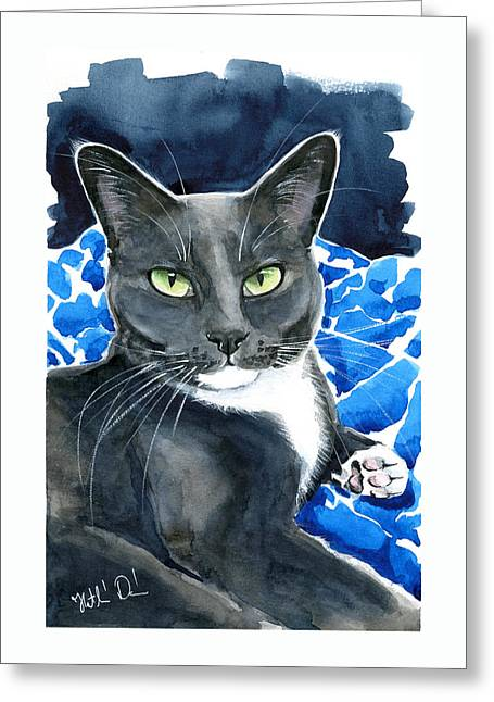 Melo - Blue Tuxedo Cat Painting Greeting Card