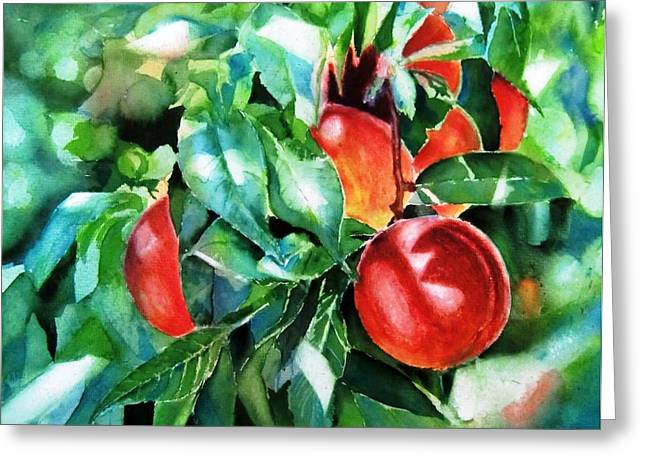 Melocotones- Peaches Greeting Card by Maria Balcells