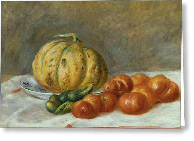 Melon And Tomates Greeting Card by Pierre Auguste Renoir