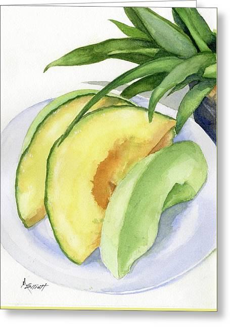Melon Color Baby Greeting Card by Marsha Elliott