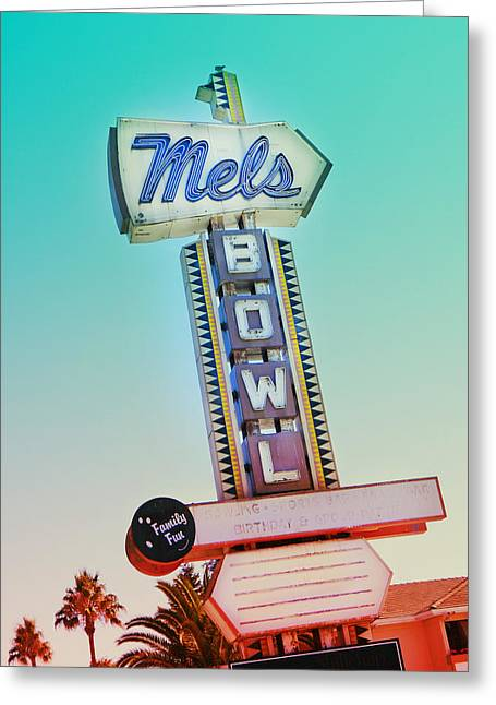 Mels Bowl Retro Sign Greeting Card by Kathleen Grace