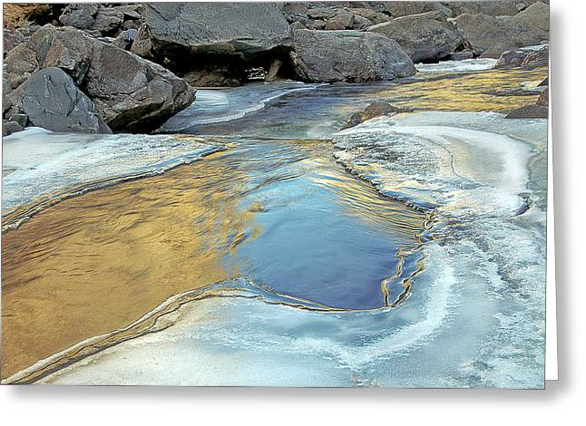 Melting Ice On The Big Thompson  River. Co Greeting Card by James Steele