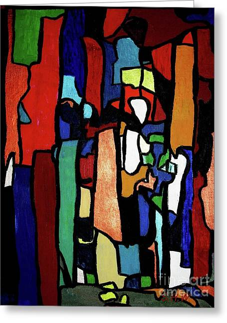 Melting Pot Abstract Greeting Card by Shelly Wiseberg